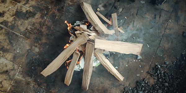 Starting a wood fire