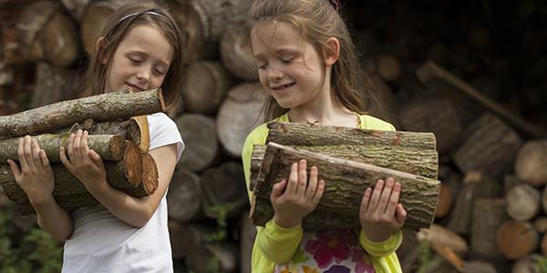 Children carrying logs