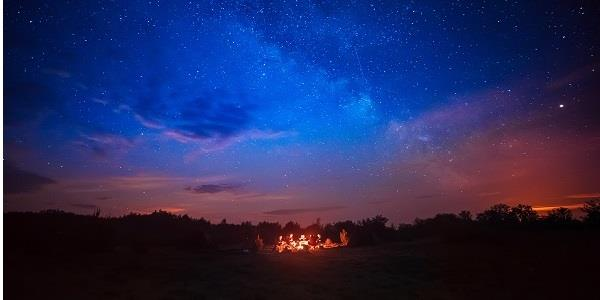 Panoramic view of the night sky while glamping
