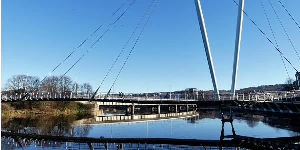 Start your cycle ride on Millennium Bridge in Lancaster