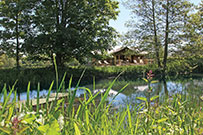 Luxury glamping tents by the ornamental lake