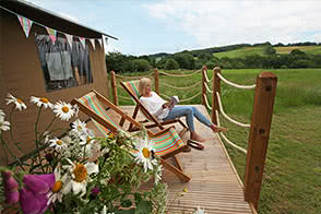 Enjoy the views around Kittisford Barton countryside from the deck of your tent