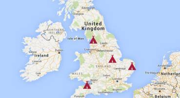 Map showing UK glamping locations
