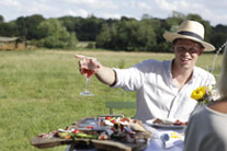Romantic outdoors meal and wine - thumbnail