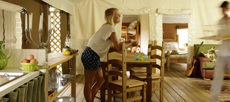 Dine in comfort in out glamping tents
