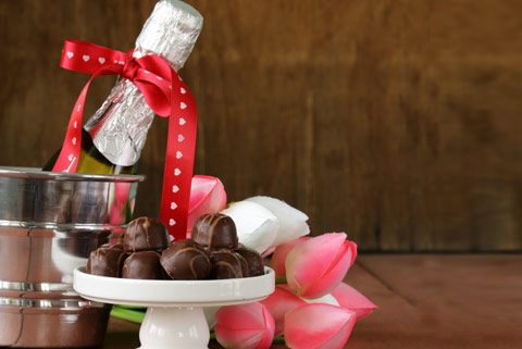 Celebrate the sepcial occasion with wine and chocolates